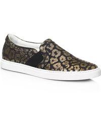 Lanvin | Metallic Leather Slip-On Sneakers | Lyst