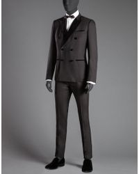 Dolce & Gabbana | black Velvet Stretch Wool Double-breasted Suit | Lyst