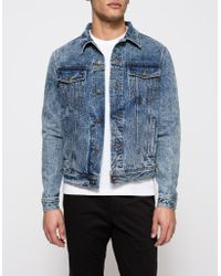 AMI | Bleached Blue Denim Jacket | Lyst