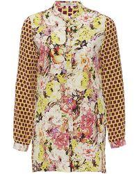 Etro Floral Grid Print Silk Tunic - Lyst