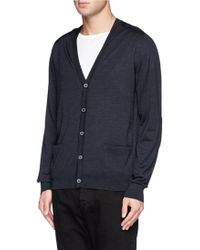 Lanvin Contrast Yoke And Elbow Patch Cardigan - Lyst