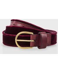 Paul Smith Burgundy Velvet And Leather Belt - Purple