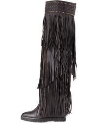 Ivy Kirzhner Wild Fringe Leather Wedge Boot - Lyst