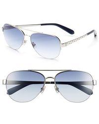 Kate Spade Women'S 57Mm Aviator Sunglasses - Silver - Lyst