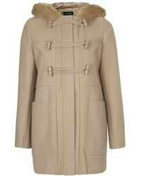 Topshop Wool Blend Hooded Duffle Coat - Lyst