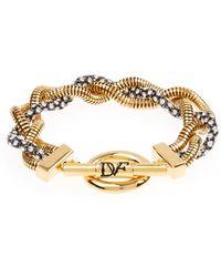 Diane von Furstenberg - Hematite Crystal-embellished Plaited Bracelet - Lyst