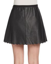 BCBGMAXAZRIA Perforated Faux Leather Skirt - Lyst