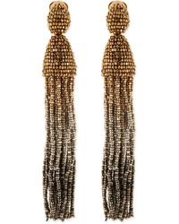 Oscar de la Renta Long Ombrebeaded Tassel Earrings - Lyst