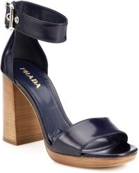 Prada Wooden-Heeled Leather Sandals - Lyst