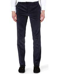 Etro Corduroy Slimfit Stretchcotton Trousers Navy - Lyst