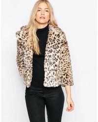Ganni Gisele Short Faux Leopard Fur Coat - Leopard - Natural