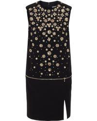 Alexander McQueen Crystalembellished Crepe Mini Dress - Lyst
