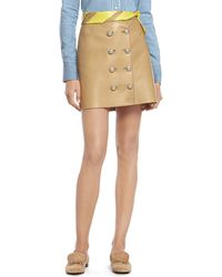 Gucci Camel Leather Skirt - Lyst