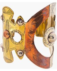 KTZ - Gold Metal Patchwork Cuff - Lyst