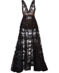 Elie Saab Black Lace Deep V-neck Gown - Lyst