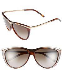 Saint Laurent 59Mm Cat Eye Sunglasses - Havana - Lyst