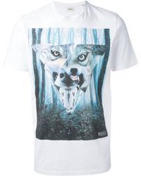 Diesel Wolf and Forest Print Tshirt - Lyst