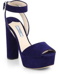 Prada Suede Platform Sandals - Lyst