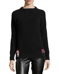 Christopher Kane Contrast Zipper Detailed Knit Sweater - Lyst