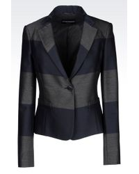 Emporio Armani Jacket In Striped Wool Blend - Lyst