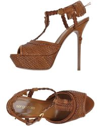Sergio Rossi Patent Leather Pony Hair Wedge Sandals - Lyst
