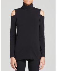 DKNY Cold Shoulder Turtleneck Top - Black