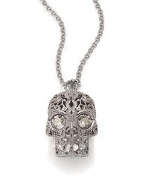 Alexander McQueen Floral Caged Skull Pendant Necklace floral - Lyst