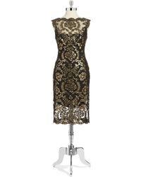 Tadashi Shoji Sequin Illusion Dress - Lyst