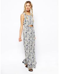 Asos Reclaimed Vintage Maxi Dress in Rose Print with Cut Out Detail - Lyst
