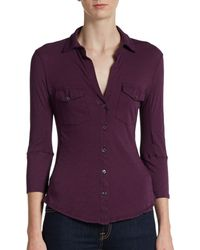 James Perse Slub Cotton Jersey Button-front Shirt - Lyst