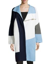 Prabal Gurung - Long-sleeve Colorblock Sweater Coat - Lyst