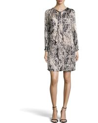 Halston Heritage Long-Sleeve Pleat-Neck Printed Charmeuse Dress gray - Lyst