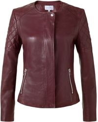 Jigsaw Quilted Leather Jacket - Purple