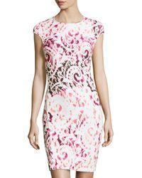 McQ by Alexander McQueen Scrollprint Fitted Ponte Dress - Lyst