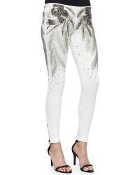 Haute Hippie Beaded Feather-Pattern Skinny Pants - Lyst