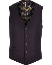 River Island Purple Statement Lined Vest - Lyst