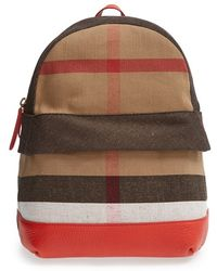 Burberry 'Tiller Check' Backpack red - Lyst