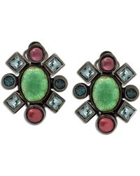 Stephen Dweck Mixed-stone Carved Flower Clip-on Earrings - Green