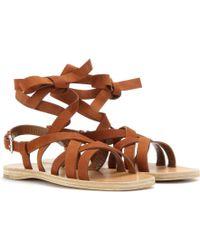 Miu Miu Brown Suede Sandals - Lyst