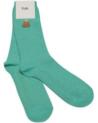 Folk Mint Green Waffle-Knit Cotton Socks green - Lyst