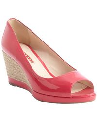 Prada Candy Pink Patent Leather Peep Toe Wedge Pumps - Lyst