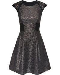 Karen Millen Metallic Jacquard Dress - Lyst