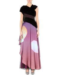 Rodarte Twin Sunset Draped Satin And Velvet Gown - For Women - Lyst