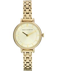 French Connection - Double Circle Dial Skinny Gold Watch - Lyst