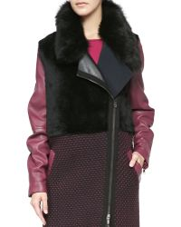 Ohne Titel - Leather/Knit/Shearling Fur Zip Coat - Lyst
