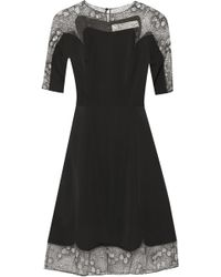 Lela Rose Tulle Paneled Matte Satin Dress - Lyst