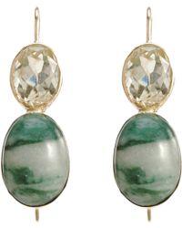 Sandra Dini Lemon Citrine Jade Earrings - Green