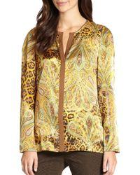 Lafayette 148 New York Opal Silk Satin Leopard & Paisley-Print Blouse - Lyst