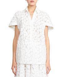 Emanuel Ungaro Devore Short-Sleeve Blouse white - Lyst
