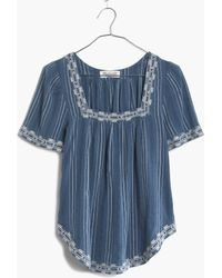 Madewell Arrowstitch Peasant Top In Stripe blue - Lyst